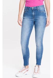 Calça Jeans Feminina Super Skinny Com Premium Stretch Cintura Média Azul Médio Calvin Klein - 36