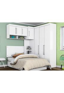 Dormitório De Solteiro 7 Portas Modena Branco - Lc Móveis
