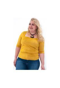 Kaue Plus Size Blusa Suede Plus Size Amarelo Blusa Suede Plus Size Amarelo M