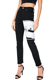 Calça Sarja Calvin Klein Jeans Boyfriend Estampada Preta