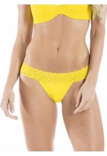 Calcinha String Fio Dental Duplo Com Cintura Em Renda E Proteção Permanente - Feminino-Amarelo