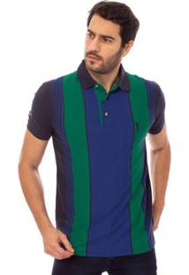 Camisa Polo Aleatory Listrada Fast Masculina - Masculino-Verde