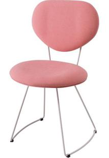 Cadeira Pimpom Rosa Com Base Curve Branca - 49561 Sun House