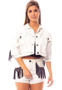 Jaqueta Jeans Bana Bana De Franjas Off-White