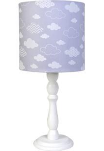 Abajur Madeira Nuvem Quarto Bebê Infantil Potinho De Mel Cinza