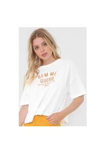 Camiseta Colcci Bem Me Quero Off-White