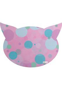 Tapete Pet Mdecore Cabeça De Gato Geométrico Rosa 54X39Cm