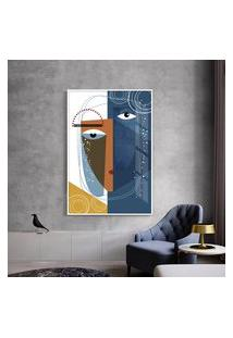 Quadro 150X100Cm Abstrato Geométrico Oriental Kofuku Moldura Branca Com Vidro