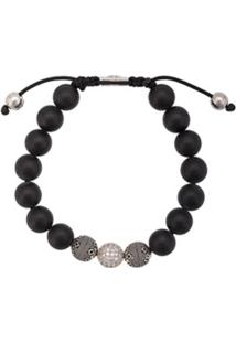 Nialaya Jewelry Pulseira Ajustável De Contas - Preto