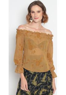 Blusa Ciganinha Com Transparência & Recortes- Amarelo Esle Fix
