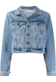 Re/Done Cropped Denim Jacket - Azul