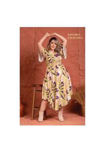 Vestido Liberty Costela De Adão Plus Size Domenica Solazzo Vestidos Longos Amarelo