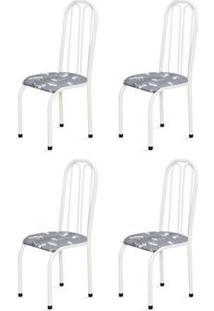 Kit 4 Cadeiras Altas 0.112 Anatômica Branco/Cinza Claro Floral - Marcheli