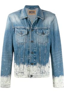 Diesel Faded Trucker Jacket - Azul