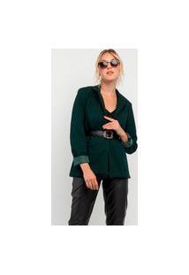 Blazer Elora Elegantic Com Cinto Feminino Verde