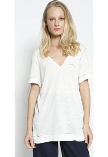 """Camiseta """"Not For You"""" Com Linho & Vivos- Off White & Prcolcci"""