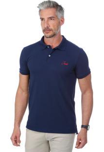 Camisa Polo Javali Mullet Bordado Azul Marinho