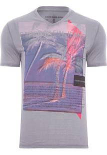 Camiseta Masculina Aquarelada - Cinza