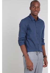 Camisa Masculina Slim Estampada Manga Longa Azul