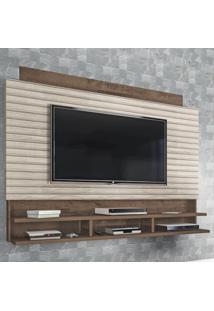 Painel Para Tv Até 72 Polegadas Flex Mocaccino Rústico/3D Carvalho Rústico - Atualle Móveis
