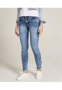 f46a4a620 CEA. Calça Feminina Azul Skinny Zíper Algodão Elastano Jeans Poliester Médio  Super