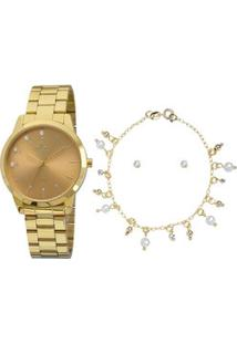 Kit Relógio Feminino Allora Al2035Fbvk4L