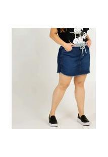 Short Saia Feminino Plus Size Jeans Tiras Amarração