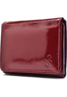 Carteira De Couro Menor Hendy Bag Fechado Verniz Feminina - Feminino-Vermelho Escuro