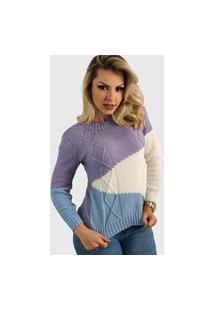 Blusa Tricot Tricolor Tranças Roxa