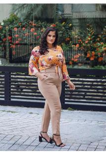 Blusa Amarração Almaria Plus Size Peri Amarelo