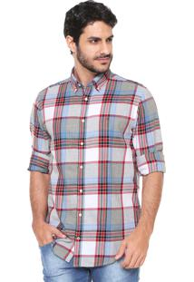Camisa Tommy Hilfiger Reta Xadrez Cinza/Azul/Vermelha