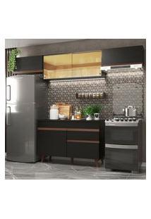 Cozinha Compacta Madesa Reims 260003 Com Armário E Balcão Preto Cor:Preto