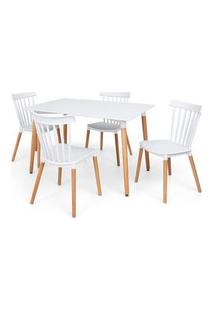 Conjunto Mesa Eiffel Branca 120X80 + 4 Cadeiras Windsor - Branco