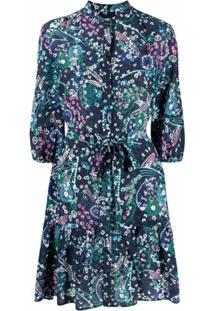 Saloni Vestido De Seda Com Estampa Floral - Azul