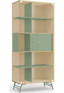 Cristaleira Kappesberg Pop Po601-P3 2 Portas Em Vidro Pine/Verde Se