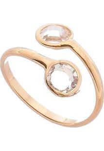 Anel Banhado A Ouro Com Pedrarias- Dourado- Tamanho Carolina Alcaide