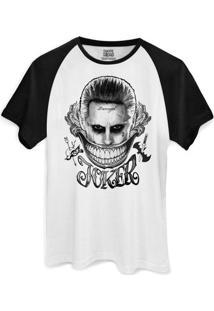 Camiseta Dc Comics Bandup! Raglan Esquadrão Suicida The Joker Damaged - Masculino-Branco+Preto