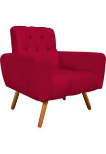 Poltrona Decorativa Pietra Suede Vermelho Com Pés Palito - D'Rossi