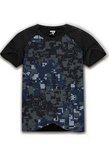 Camiseta Manga Curta The Garage Custom Tees Raglan Camo Pixel Preto