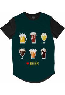 Camiseta Insane 10 Longline Cerveja Pixelada Sublimada Preta Azul