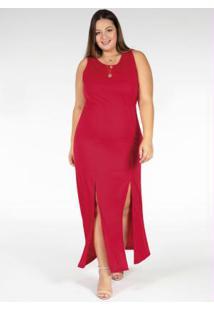 Vestido Longo Vermelho Com Fendas Plus Size