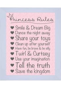 "Quadro Decorativo ""Princess Rules""- Rosa Claro & Cinza Ekapos"
