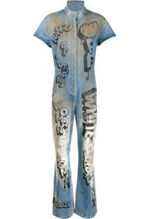 Off-White Macacão Destroyed Com Estampa De Grafite - Azul