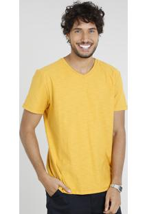Camiseta Masculina Básica Manga Curta Gola V Mostarda