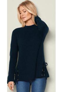 Suéter De Tricô Com Amarração Azul Marinho
