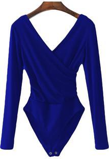 Body Transpassado Luxo Blusa Camisa Manga Longa Frozini Festa Luxo Azul Royal