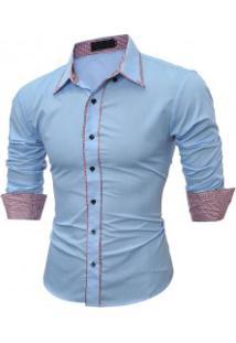 Camisa Masculina Slim Fit Com Detalhes Xadrez Manga Longa - Azul Claro