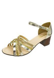 Sandália Romântica Calçados Tiras Dourado