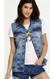 Colete Feminino Jeans Bolsos Marisa