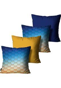 Kit Com 4 Capas Para Almofadas Mdecore Geométrica Colorido 45X45Cm Azul